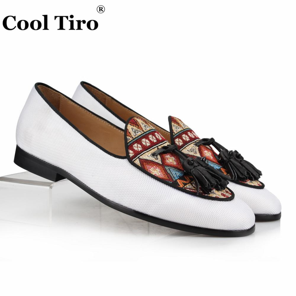 Cool Tiro White Canvas Loafers Men Moccasins Tassels Slippers Casual shoes Man Flats Genuine Leather Ethnic