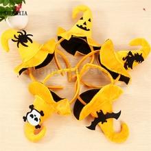 Повязка на голову в виде тыквы на Хэллоуин, товары для праздника, голова призрака, паук, летучая мышь, Классическая желтая Кепка с крючком, головной убор, аксессуары для волос