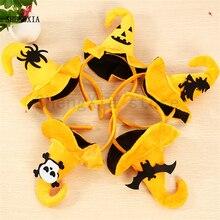 Halloween Pumpkin Headband Holiday Party Supplies Ghost Head Spider Bat Classic Yellow Hook Cap Headdress Hair Accessories
