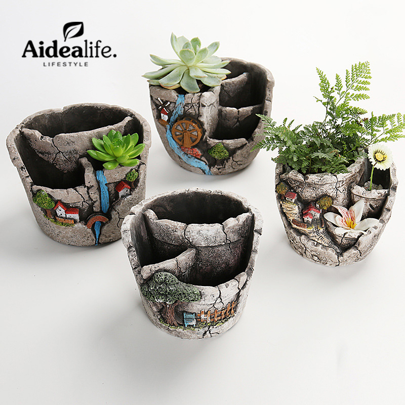 Us 76 9 Pocket Gardens Outdoor Planters Clay Potconcrete Molds Small Succulents Decorative Flower Pots Home Decor In Flower Pots Planters From
