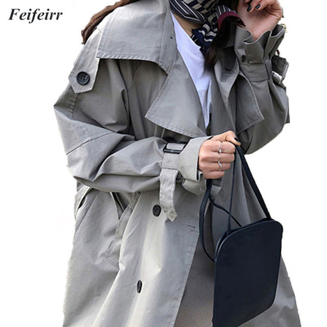 Abrigos Primavera Outono 2018 Coreano Moda Double Breasted Mid-long Trench Coat Windbreak Outwear Mujer Cinto Solto grande tamanho