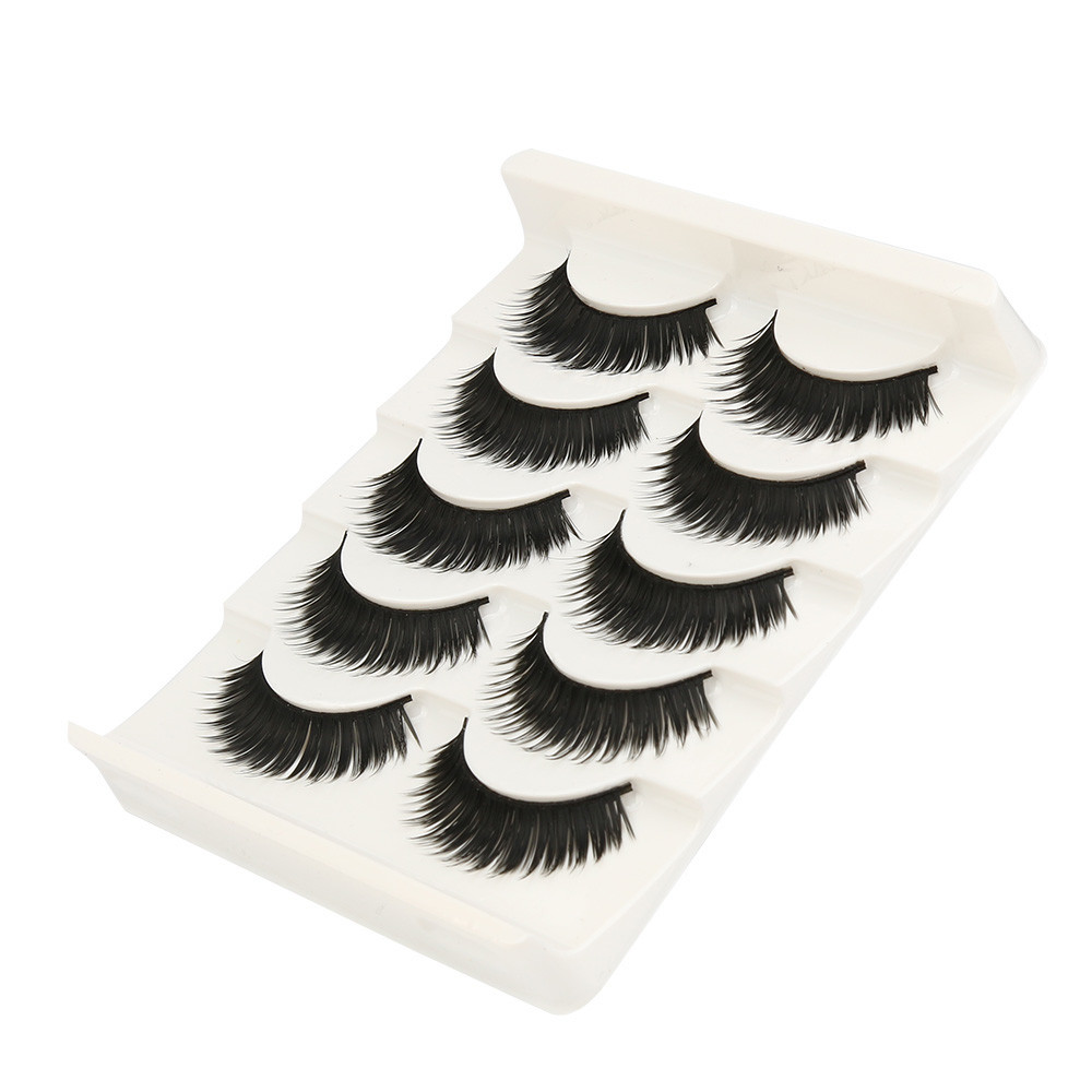 High Quality 5 Pairs Fake Eyelashes Fashion Natural Handmade Long False Black Mink Eyelashes extension Makeup Hot Sale