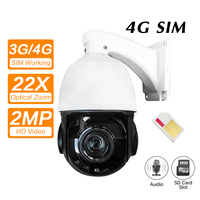 4G 3G SIM Card Camera Wifi Outdoor PTZ HD 1080P Speed Dome Camera Wireless IR 80M 22X Zoom Auto Focus CCTV Wifi IP Camera Audio