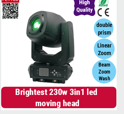 fly case 6/lot Stage Decoration double Facet Prism Motorized Focus 230w led moving head spot beam light