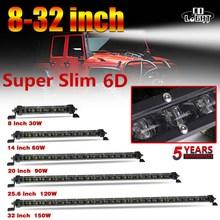 """共同ライト 6D ledライトバー 8 """"14"""" 20 """"25.6"""" 32 """"インチオフロードledバーコンボのためのトラクタートラック 4WD 4x4 atv ledワークライト 12v"""