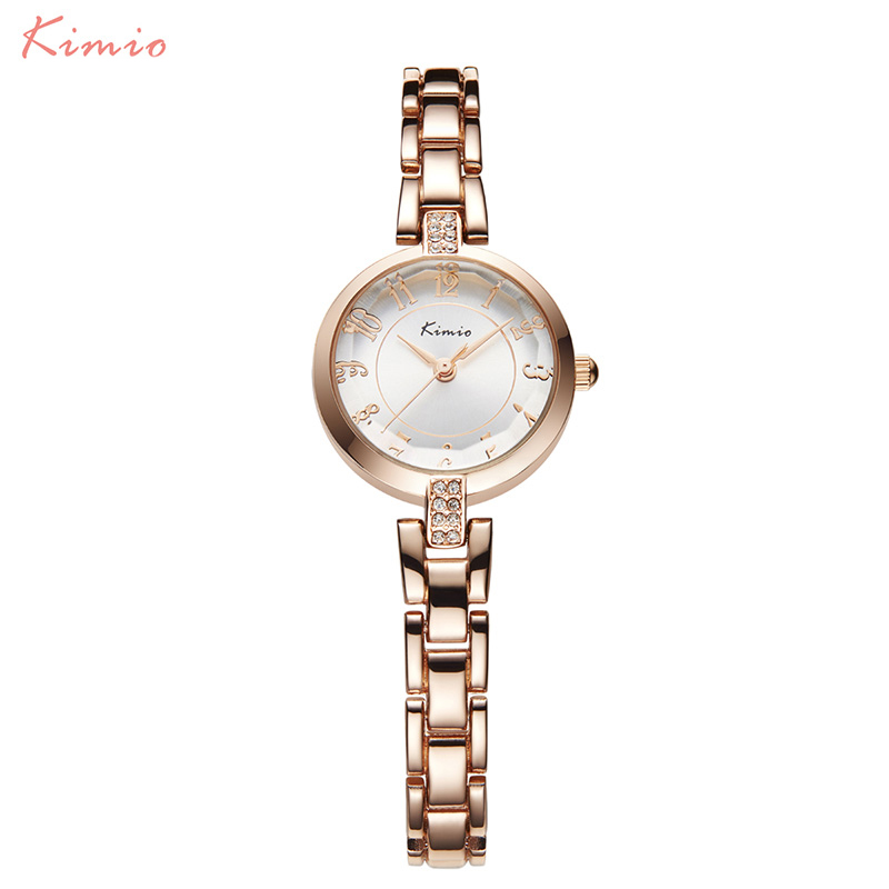 KIMIO Stainless Steel Wrist Watches Women Japanese Movement Waterproof Quartz Watch Rhinesone Crown Bracelet Watch Horloge
