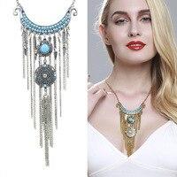 יצרנים מוכרים שרשרת טורקיז אופנה בסגנון אירופאי חדש עוד לא לדעוך תכשיטים עתיק בציפוי כסף שרשרת