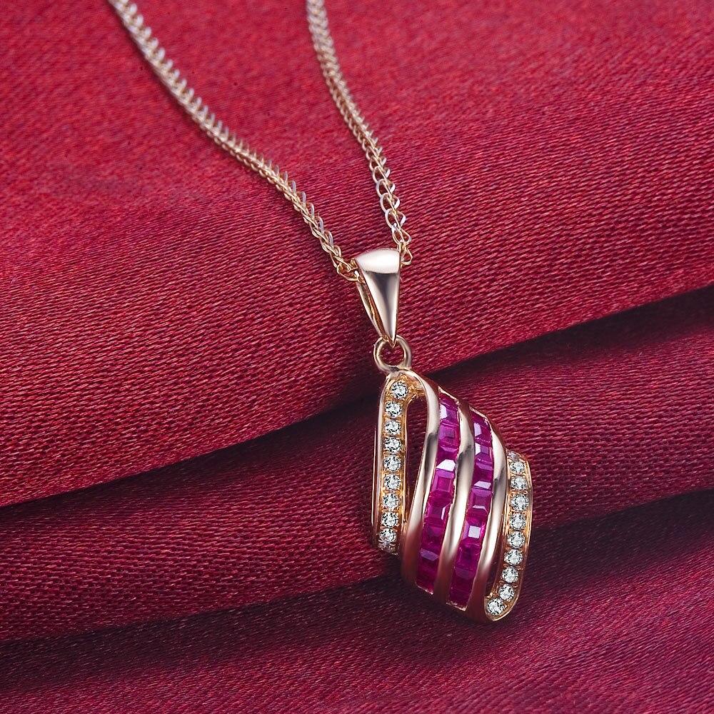 GVBORI Группа Декор 18 К розовое золото Рубин бриллиантовое колье, кулон fine jewelry рождественские женские свадебные украшения