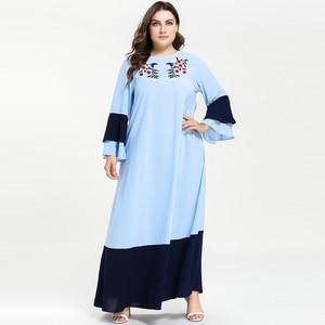 Женская мусульманская одежда мусульманское платье с вышивкой абайя турецкий Дубай размера плюс длинные платья с длинным рукавом Vestidos M- 4XL