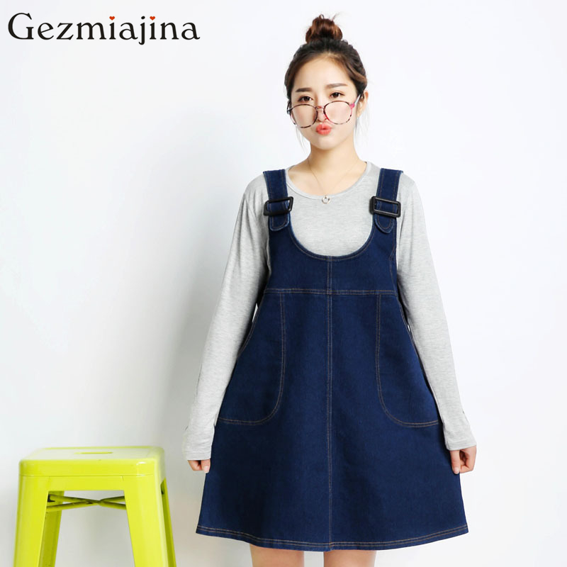 Spring summer autumn maternity clothes Pregnant women loose denim skirt Long straps cowboy dress in fashion loose big yards