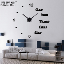 ФОТО   metal 3d diy wall clock home decor modern design needle acrylic mirror wall watch clocks quartz stickers
