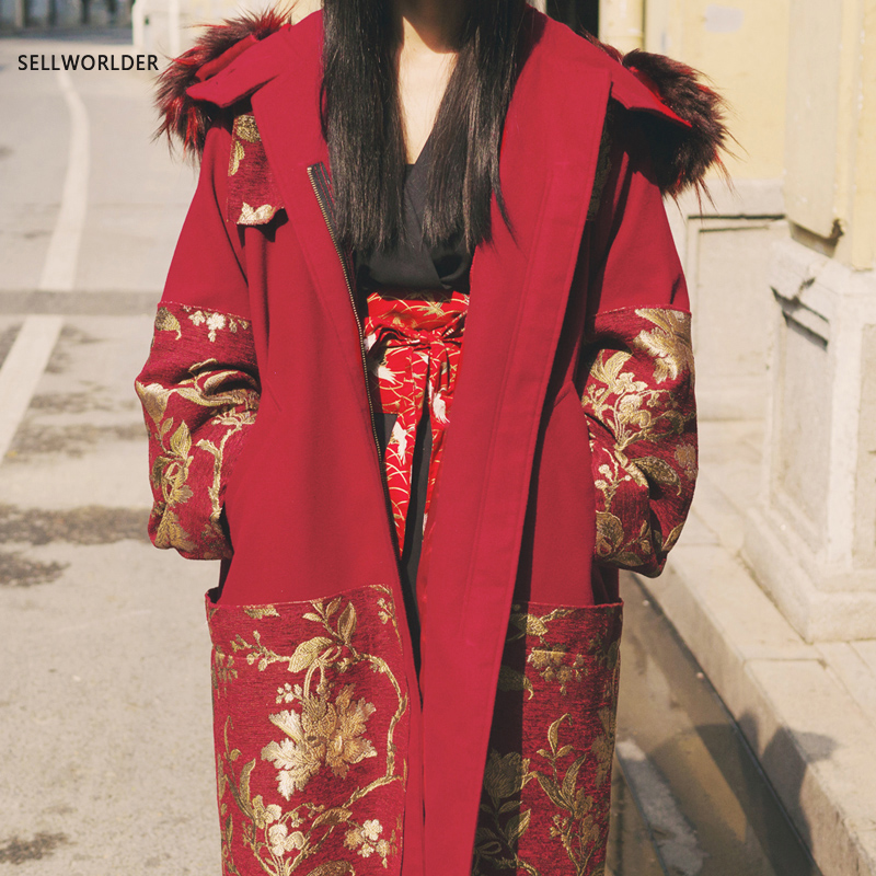 2017 SELLWORLDER Japan Style Embroidery Parkas Zippers Thick Removable Hat A-line Long Coats & Jackets