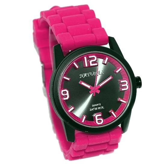 Luxury Brand Unisex Analog Quartz Round Wrist Watch Japan PC21J Movement Magenta Soft Silicone Strap Black Dial Water Resistant