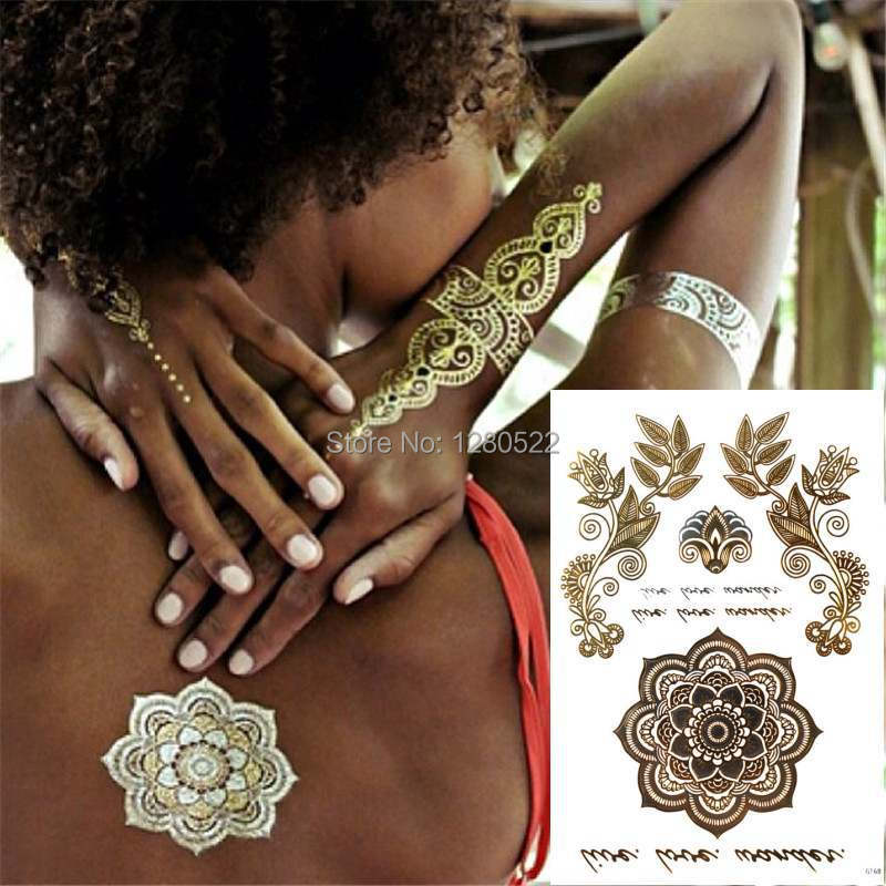2 ark Fashion Totem Retro Flower Silver och Gold Flash Tattoo Tillfällig Metallisk Tattoo Sticker Tatuagem för Women Beauty