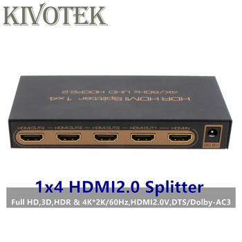4k2k@60Hz,3D 1x4 HDMI2.0 Splitter Adapter,1xHDMI Input Signal Split to 4xHDMI Connector For HDTV DVD,STB,PS2/3 PSP Free Shipping фото