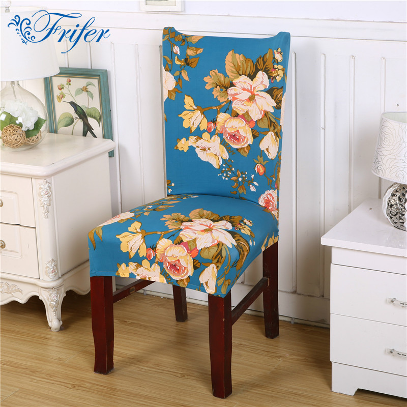 Home Decor Dining Chair Cover Leaf Flower Printed Stretch Spandex Furniture Protector Office Banquet Hotel Chair Covers