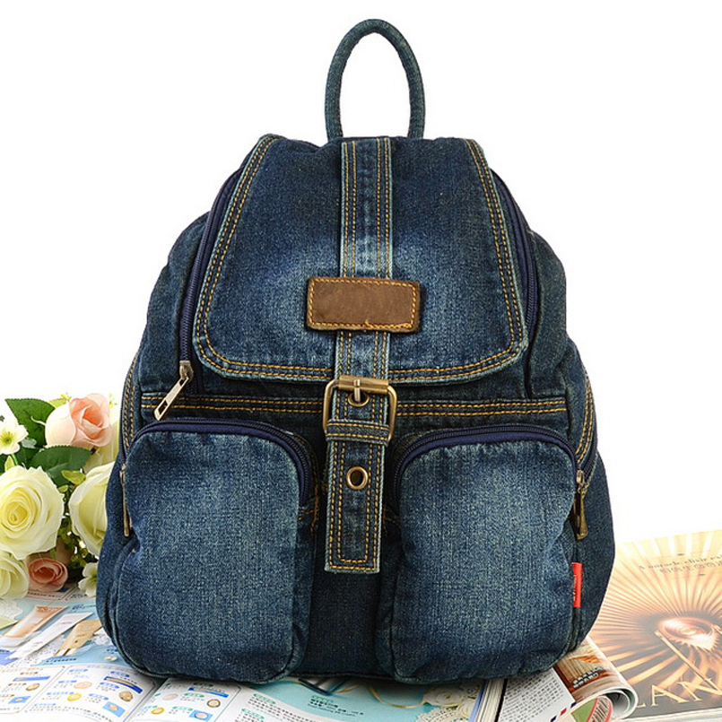 Hot Sale Women backpacks For Girl Teenagers Vintage Denim bags Backpack School Bag Pack travel Bag Feminina Knapsack tcttt new 2016 travel bag women laptop backpacks girl brand rivet backpack fashion chains knapsack school bags for teenagers