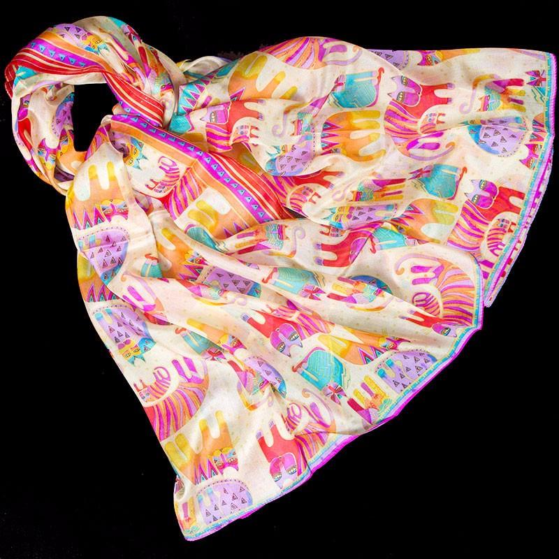 Silky Pinky Catty Foulard   Lightweight Scarves