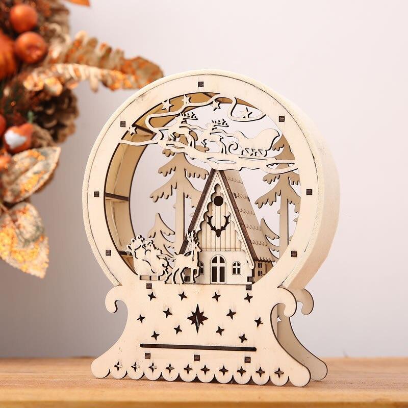 Nette Luminous Kabinen Geschenk Kreative Weihnachten Dekorationen Holz Haus Tabelle Decor Weihnachten Ornamente Für Home natale navidad 2018