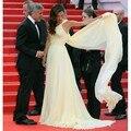 Amarelo de Um Ombro Formal Vestidos de Noite 2017 Longo Elegante Alta Fenda Vestidos Amal Clooney Cannes Tapete Vermelho Vestido Da Celebridade
