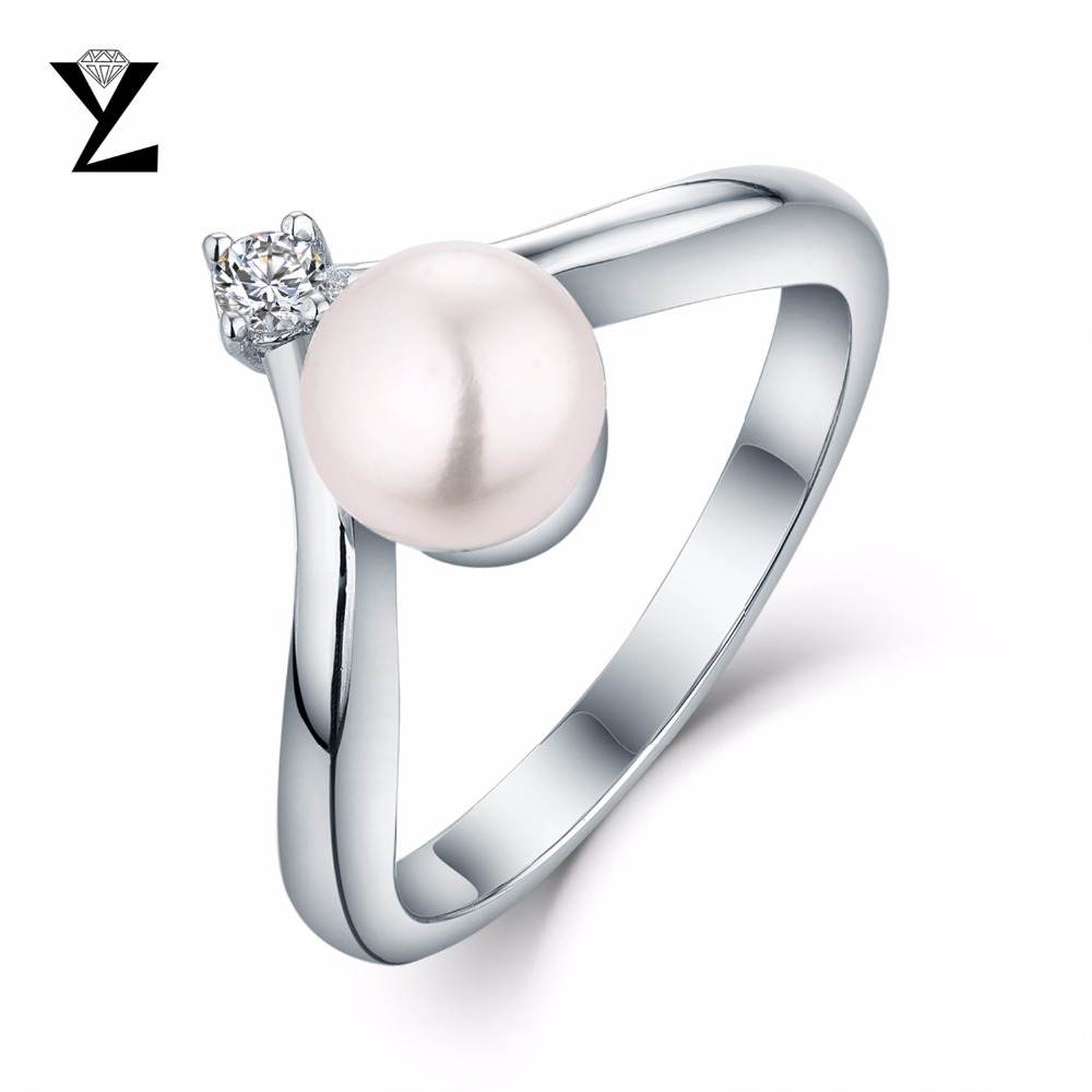 YL Luxury Jewelry 925 Sterling Silver Ring 8-9 mm 100% Natural Freshwater Pearl Wedding Big Ring Women Birthday Gift