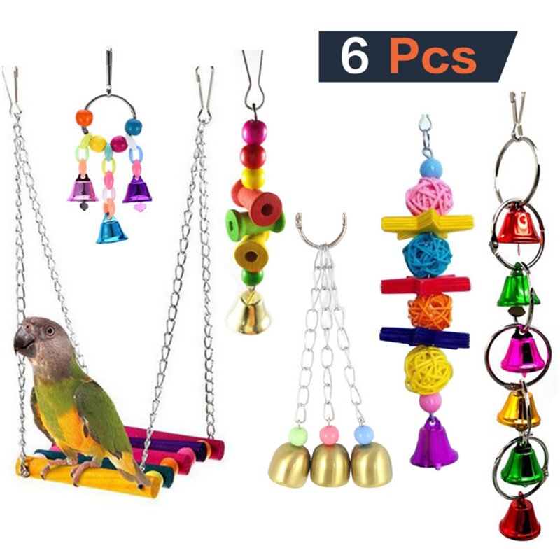 6 Pcs sets of combination parrot toys product and birds toy for Parrot bird cage accessories supplies