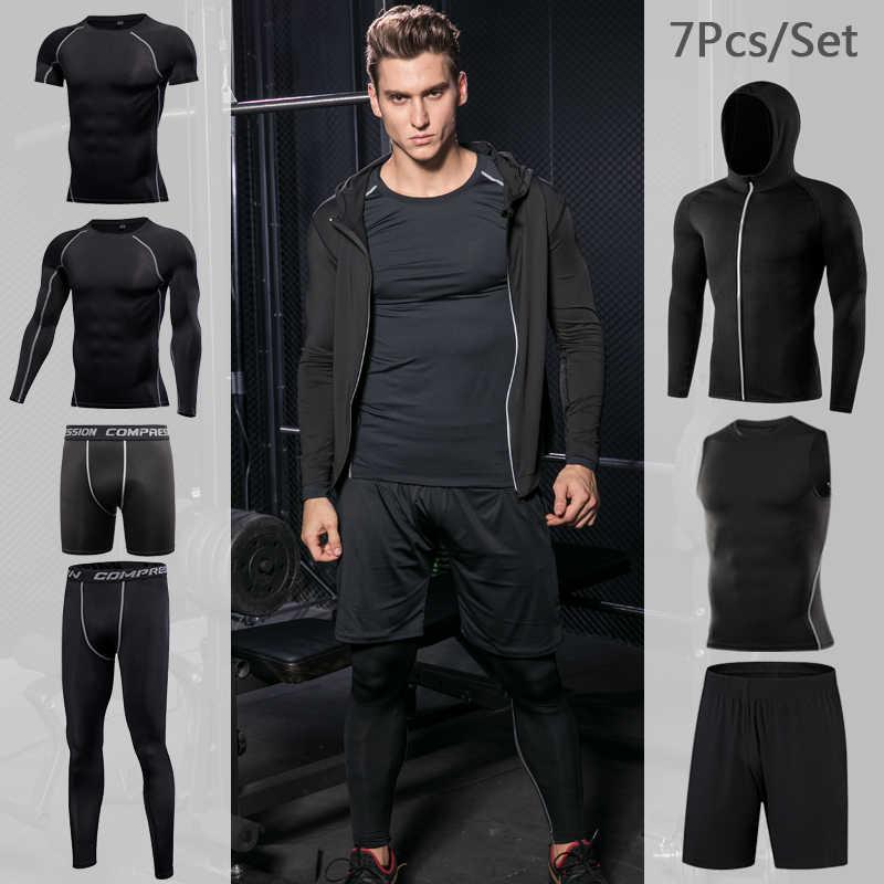 Apertados sportwear terno masculino ginásio correndo fitness jogging esporte wear compressão leggings calças de treino roupas esportivas conjuntos