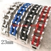 131g European Style Motorcycle Bracelet Bangle 316L Stainless Steel Black Silver Red Blue Handsome Mens Wrist