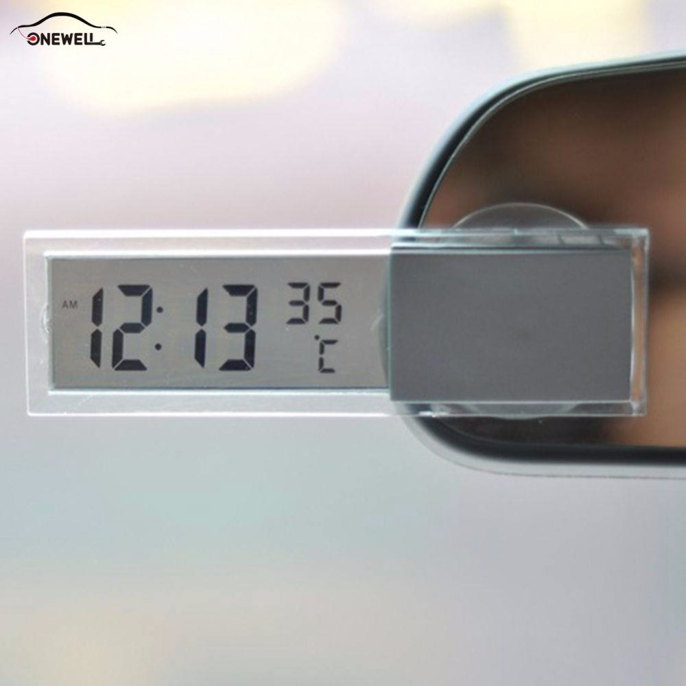 ONEWELL 1 Pcs New 2 in 1 Automobile Car Clock Thermometer Sucker Type Clock Thermometer Transparent LCD Digital Watch
