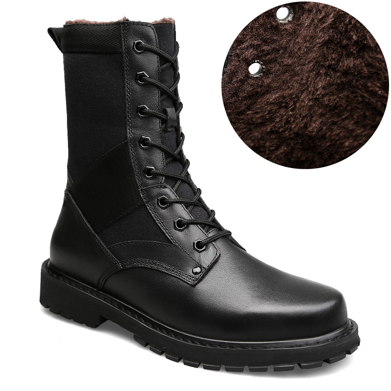 все цены на Plus Size 37-50 Winter Genuine Leather Boots Men Mid Calf Lace-Up Warm Plush Army Military Combat Boots For Men Military Shoes