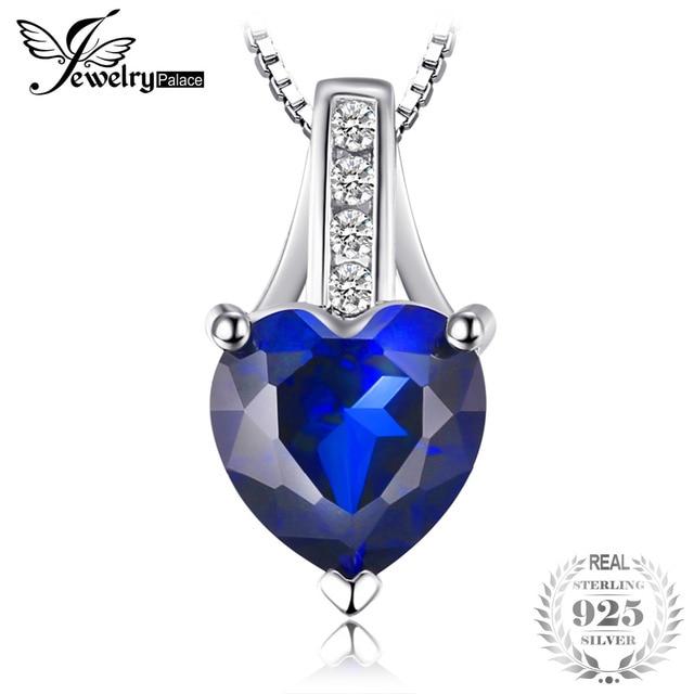 1.7 ct Created Blue Sapphire Heart Pendant