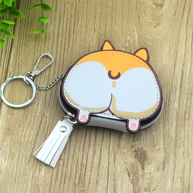 Boys Girls Cartoon Anime Inu Shiba Dog Doge Butt Designer Coin Purse PU Bag With Key Chain Gift
