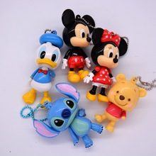 Disney Mickey Mouse Cartoon doll Pendant Joint Movable Car KeyChain children bag pendant Minnie doll model girl boy toy gift