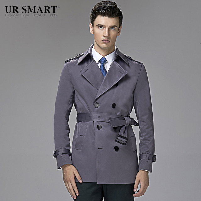 e483c172174 Police detective URSMART and brief paragraph double-breasted men male coat  dust coat grey style