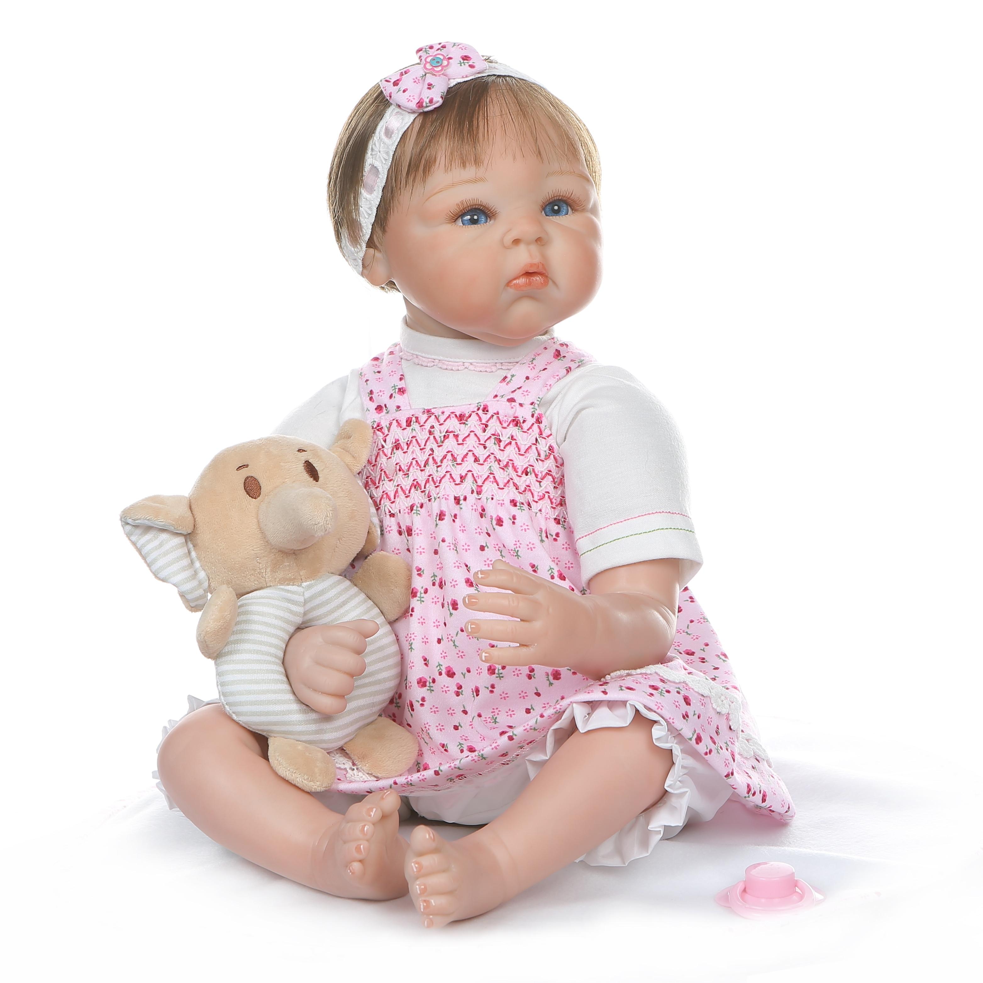 NPK 55 CM 0 3Month prawdziwe dziecko bebe realistyczny reborn baby doll realistyczne miękkie silikonowe baby girl doll ważone ciała zakorzenione do włosów w Lalki od Zabawki i hobby na  Grupa 3