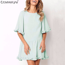 Party Dresses Ruffle Pleated Dress Sexy Solid Color Loose Half Sleeve O Neck Short summer dress women cotton 2019