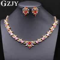 GZJY Luxury Wedding Gold Color Jewelry Flower Multi Color Cubic Zircon Big Statement Necklaces Earring Sets For Women