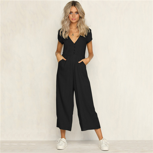 Office Lady Womens Playsuit 4Color Deep V Neck Slim Solid Bodysuit Party Jumpsuit Romper Chiffon Long Wide Leg Trousers Clubwear