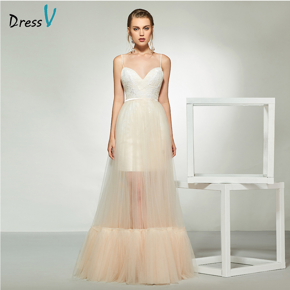 Dressv elegant sample spaghetti straps a line wedding dress sleeveless lace floor length simple bridal gowns wedding dress