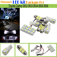 Buildreamen2 9 X Auto 5630 SMD LED Bombilla Interior Mapa Dome paso Tronco Paquete de Kit de Coche de Luz LED Blanco Para Toyota Camry 2012-2016