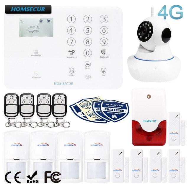 HOMSECUR ワイヤレス & 有線 4 グラム液晶ホームセキュリティ警報システム + IOS/Android アプリ GA01 4G W