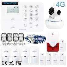 HOMSECUR sistema de alarma de seguridad para el hogar, inalámbrico y con cable, 4G, LCD, aplicación IOS/Android GA01 4G W