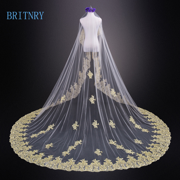 BRITNRY 3 5M Long Wedding Veil One Layer Gold Lace Edge Bridal Veil White Ivory Champagne