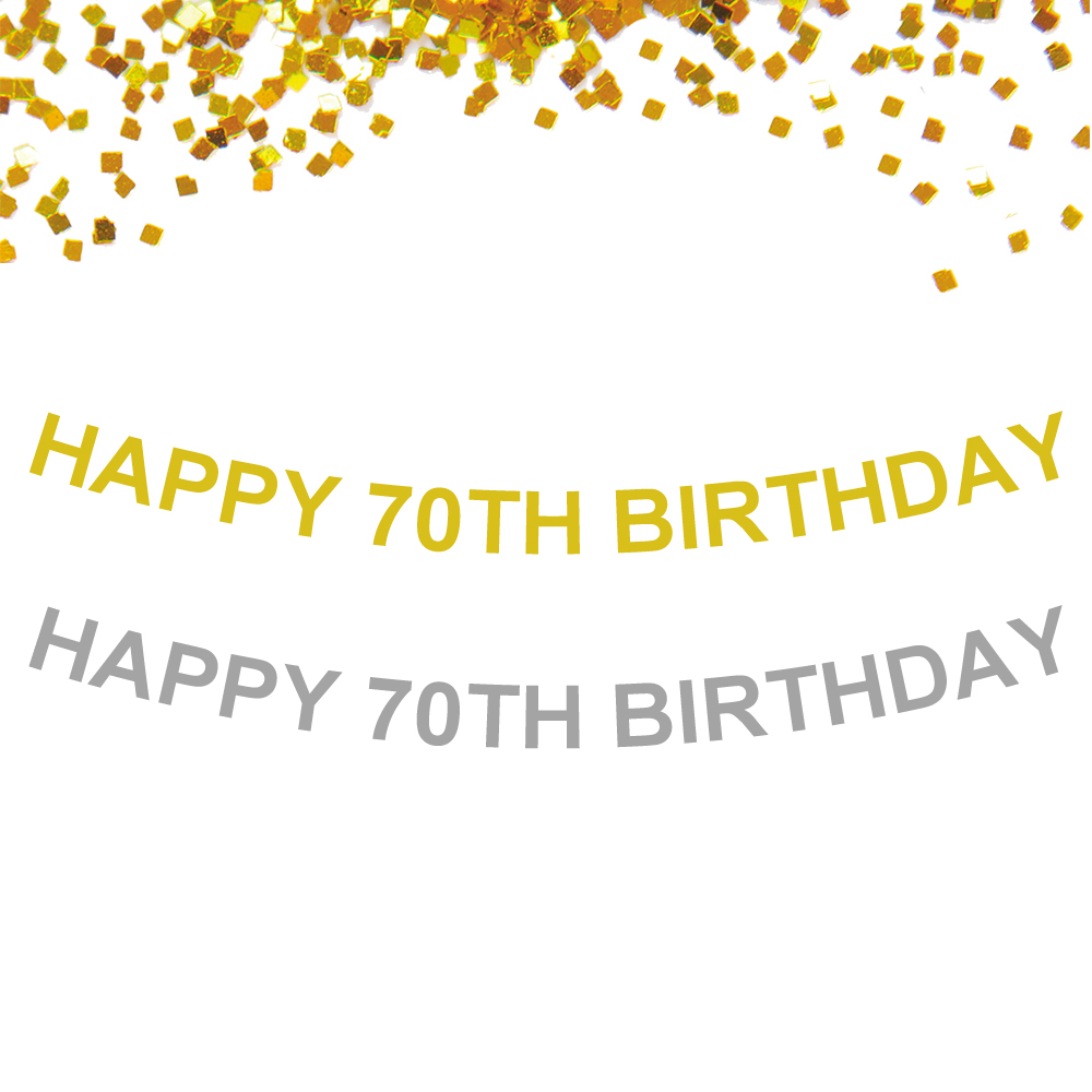 1 set Custom <font><b>Birthday</b></font> Party Banner Glitter Gold Silver Happy <font><b>70th</b></font> <font><b>Birthday</b></font> Letter Banner For <font><b>Birthday</b></font> Party Decoration Banner image