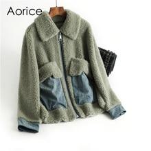Pudi Winter women 30% real wool fur coat Zipper warm jacket sheep shearling girl fur coats lady Long jacket overcoat OMS03 недорого