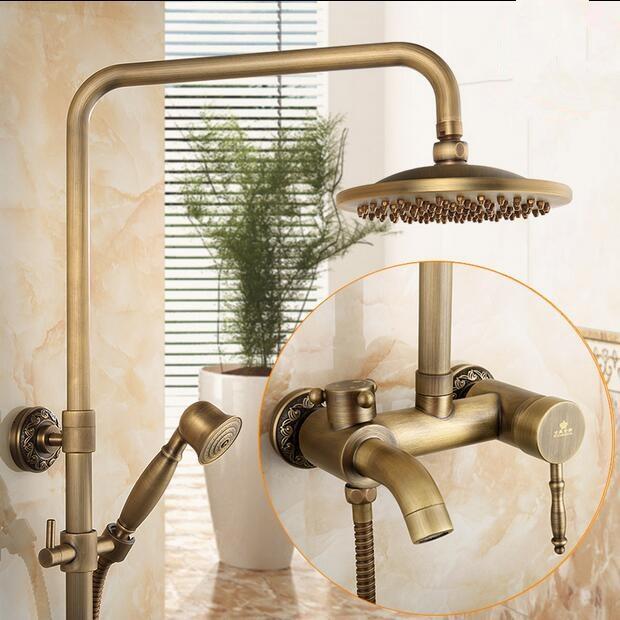 Salle de bains pluie douche ensemble antique mur cascade robinet de douche avec 8 pouce précipitations douche solide douche mélangeur