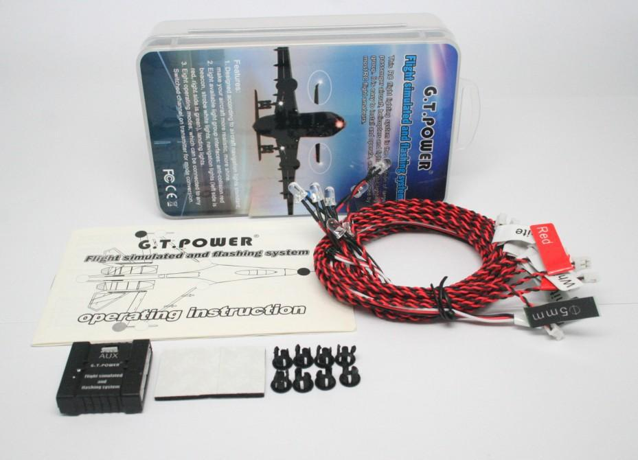 F13051 G.T.Power Flight Simulated and Flashing System / Navigation Light for RC Aircraft Airplane with 8 Operating Modes + FS