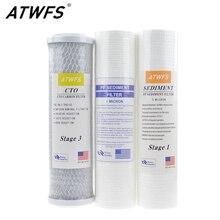 ATWFS 10-дюймовая шпилька фильтр для очистки воды 5 микрон PP Хлопок фильтр+ 1 микрон фильтр из полипропилена+ картридж фильтра с активированным углем