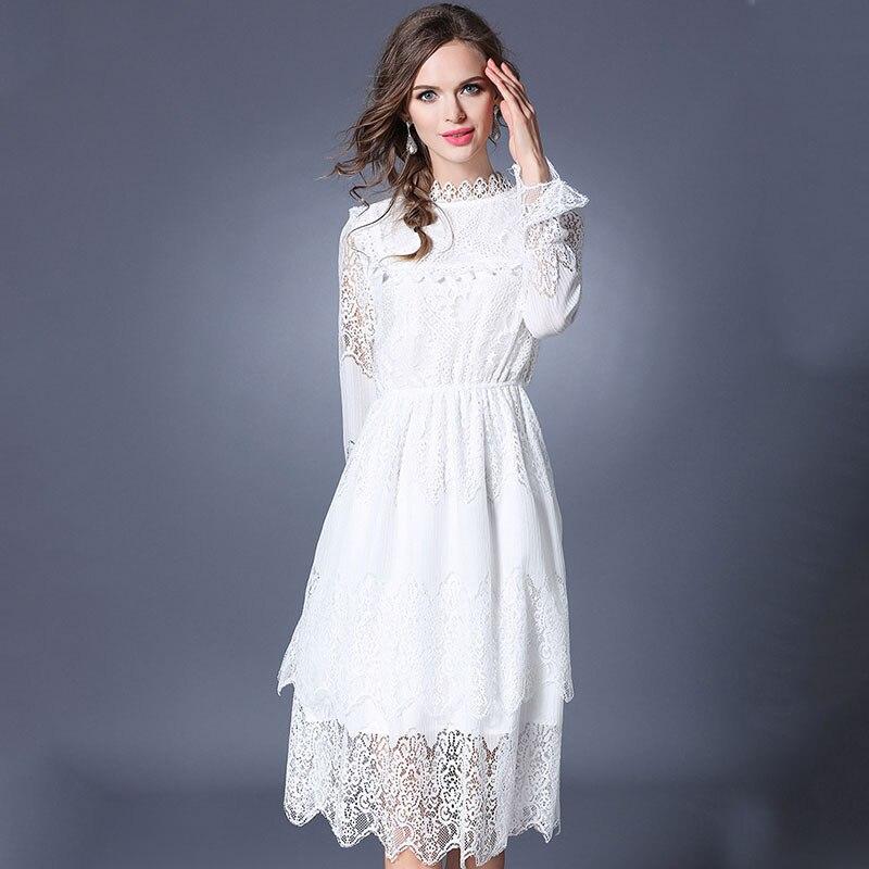 new women romantic white lace dress robe femme ete 2017. Black Bedroom Furniture Sets. Home Design Ideas