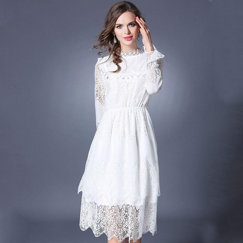 New Women Romantic White Lace Dress Robe Femme Ete 2018 Vestidos Ukraine Jacquard Long Sleeved Party